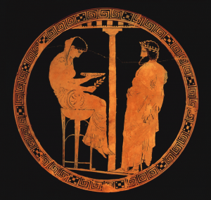 The childless King Aegeus receives a prophecy from Themis regarding the birth of his son. The goddess is seated on the Delphic tripod in the role of Phthia, prophetess of the oracular shrine. She holds a cup (phiale) in one hand and a sprig of laurel in the other.